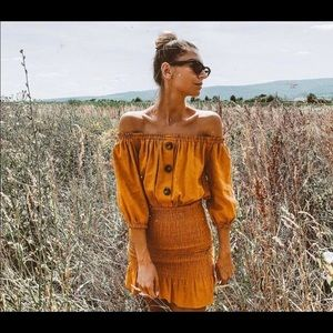 Zara off the shoulder dress - mustard